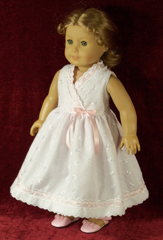 "18 inch American Girl Doll  White Eyelet ""Special Occasion Dress"""