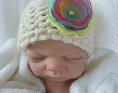 Ivory Chunky Beanie with Beautiful Flower Clip Newborn Hat.....Great for a Girl...READY TO SHIP