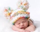 Multi Colored Stripe Pom Pom Newborn Hat