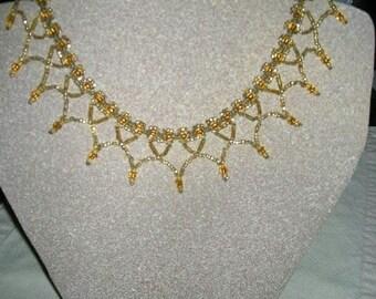 Gold Seed Bead Collar