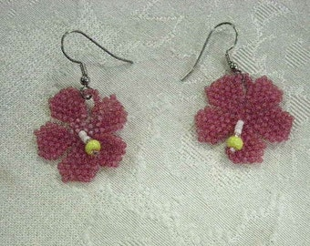 Beaded Hibiscus Earrings
