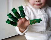 Five Little Speckled Frogs Finger Puppet Set.  (Includes 5 different Speckled Frogs.)  We can make custom orders of individual puppets or puppet sets.