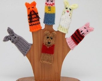 Bear and Friends Finger Puppet Set.  We can create custom listings of individual puppets or puppet sets.