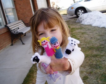 Mary had a Little Lamb and Little Boy Blue with Cow Finger Puppets.  We can create custom listings of individual puppets or puppet sets.