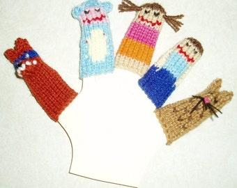 Exploring Kids Finger Puppet Set.  (Includes Girl, Monkey, Masked Fox, Boy, Jaguar.)
