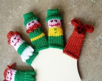 Leprechaun/Irish Family Finger Puppet Set.  (Includes Dad, Mom, Brother, Sister, Irish Setter Dog.)  We can make custom orders.
