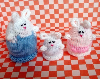 Nesting Bunny Egglet Family (Includes Papa, Mama, and Baby)