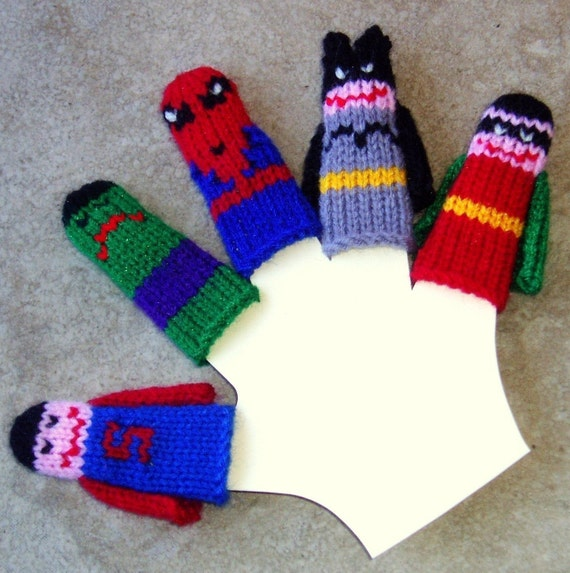 Superheroes Finger Puppet Set (5 puppets)  We can create custom orders of individual puppets or puppet sets.