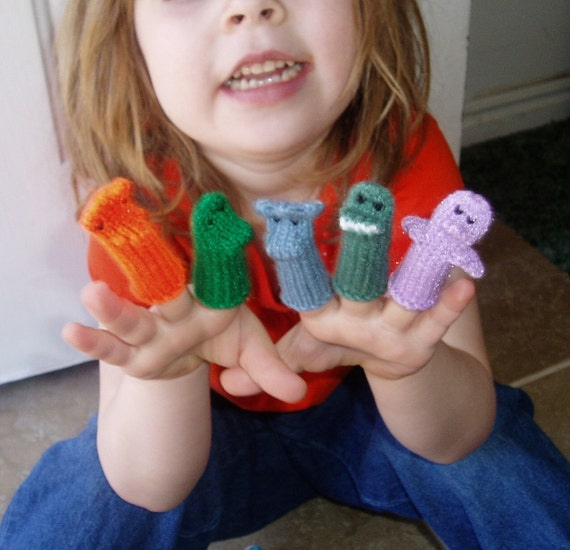 Dinosaur Finger Puppet Set (Includes 5 different dinosaurs.)  We can create custom orders of individual puppets or sets.