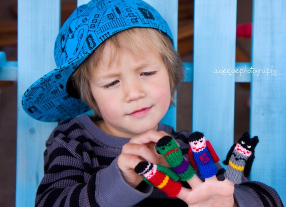 Super Heroes Finger Puppet Set (5 puppets)  We can create custom orders of individual puppets or puppet sets.