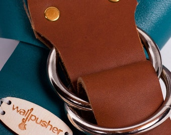 Adjustable guitar strap in Blue-Green coach leather  **FREE MONOGRAMMING**