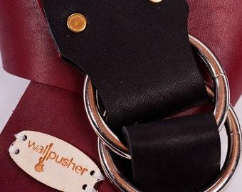 Adjustable Leather guitar strap in red on black