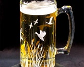 Groomsmen Beer Stein, Etched Glass, Flying Duck Migration