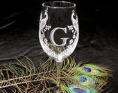 2 Monogrammed Wine Glasses, Peacock Motif, Etched Glass Gift for Bride and Groom