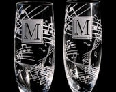 2 Music Wedding Champagne Toasting Flutes, Personalized Gift for Couple, Musica Present