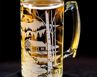 Gift for Groomsman Beer Stein, Etched Glass, Bear by Mountain Cabin, Birthday Present for Man, Dad, Boyfriend