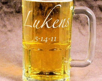5 Beer Steins, Personalized Groomsmen Gift, Etched Glass