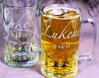 12 Personalized Beer Mugs, Etched Glass Groomsmen Beer Mugs