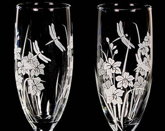 2 Personalized Wedding Champagne Flutes, Dragonfly & Orchid, Engraved, Quinceanera