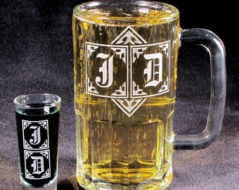 2 Personalized Gift Sets for Men, Etched Glass Beer Stein, Shot Glass, Monogrammed Gift for Best Man, Ushers