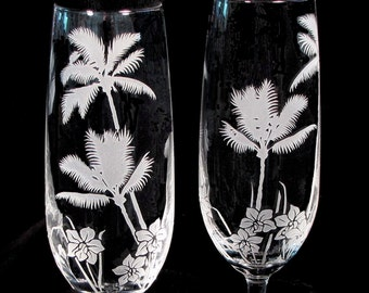 2 Personalized Wedding Toasting Flutes, Tropical Beach, Engraved Crystal