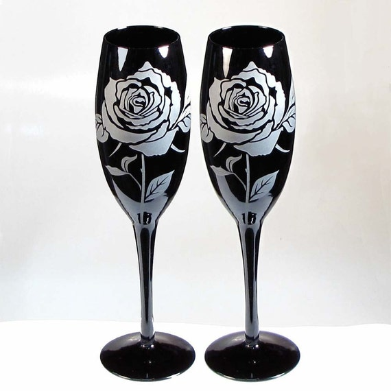 Black Rose Champagne Flutes, Glass Etched