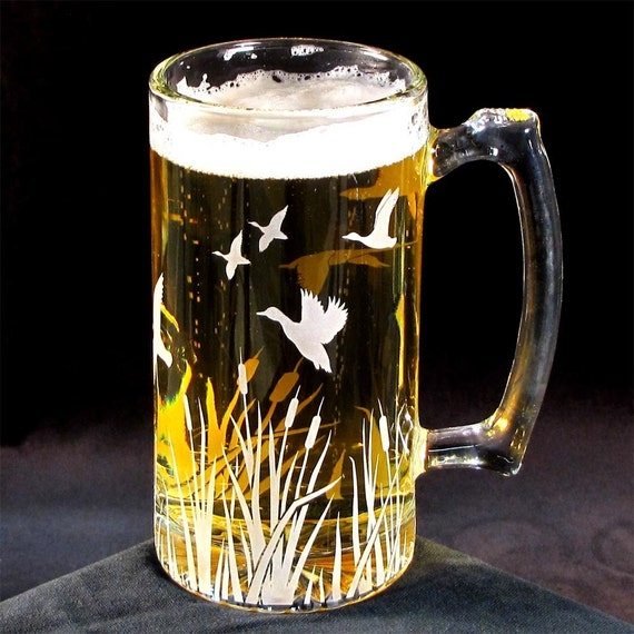 Groomsmen Beer Stein, Etched Glass, Flying Duck Migration, Present for Man