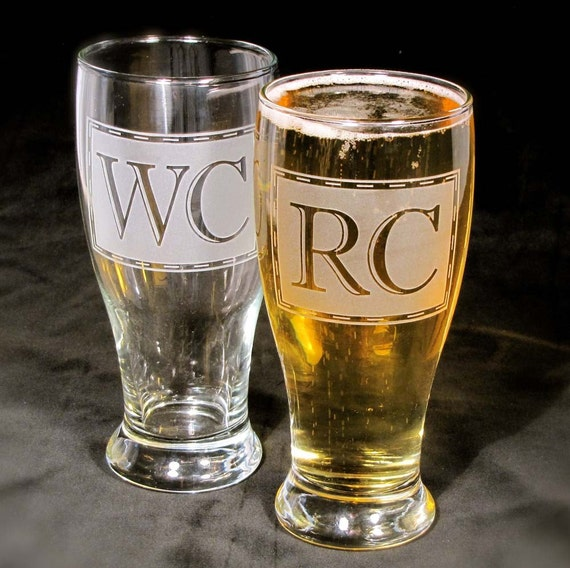 7 Engraved Gifts for Groomsmen Gifts, Monogrammed Pint Glasses, Etched Glass Beer Glasses
