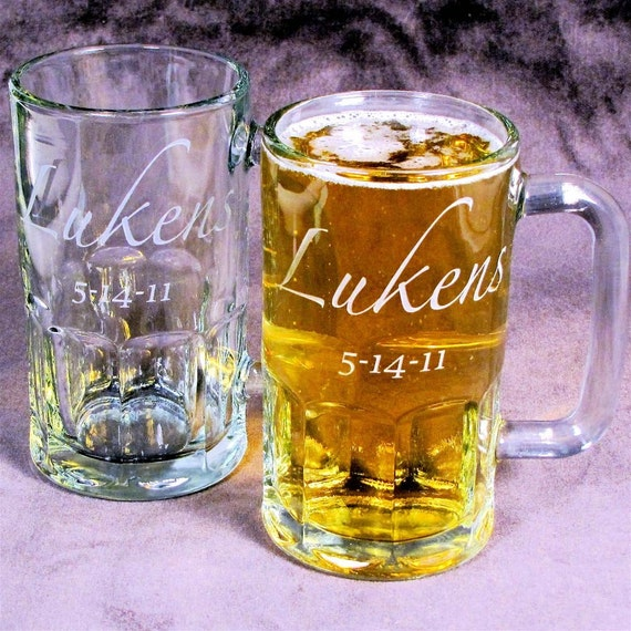 8 Beer Steins, Etched Glass, Gifts for Groomsmen, Personalized Presents for Usher, Best Man, Stag Party