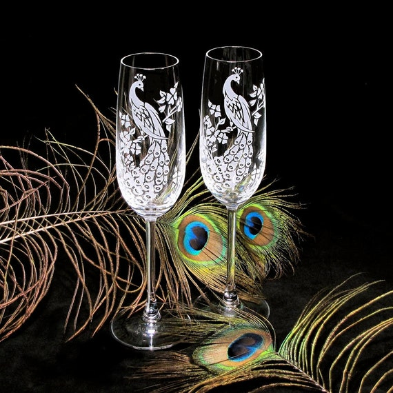 2 Crystal Champagne Flutes, Personalized Peacock Themed Wedding Champagne Glasses