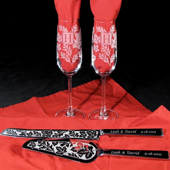 Autumn Wedding Fall Leaves Cake Server Champagne Flute Set, Personalized Engraved Gift for Couple