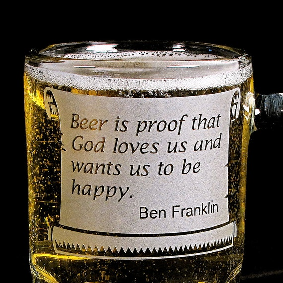 4 Gifts for Groomsmen Beer Mugs, Ben Franklin Beer Quote, Personalized Gifts