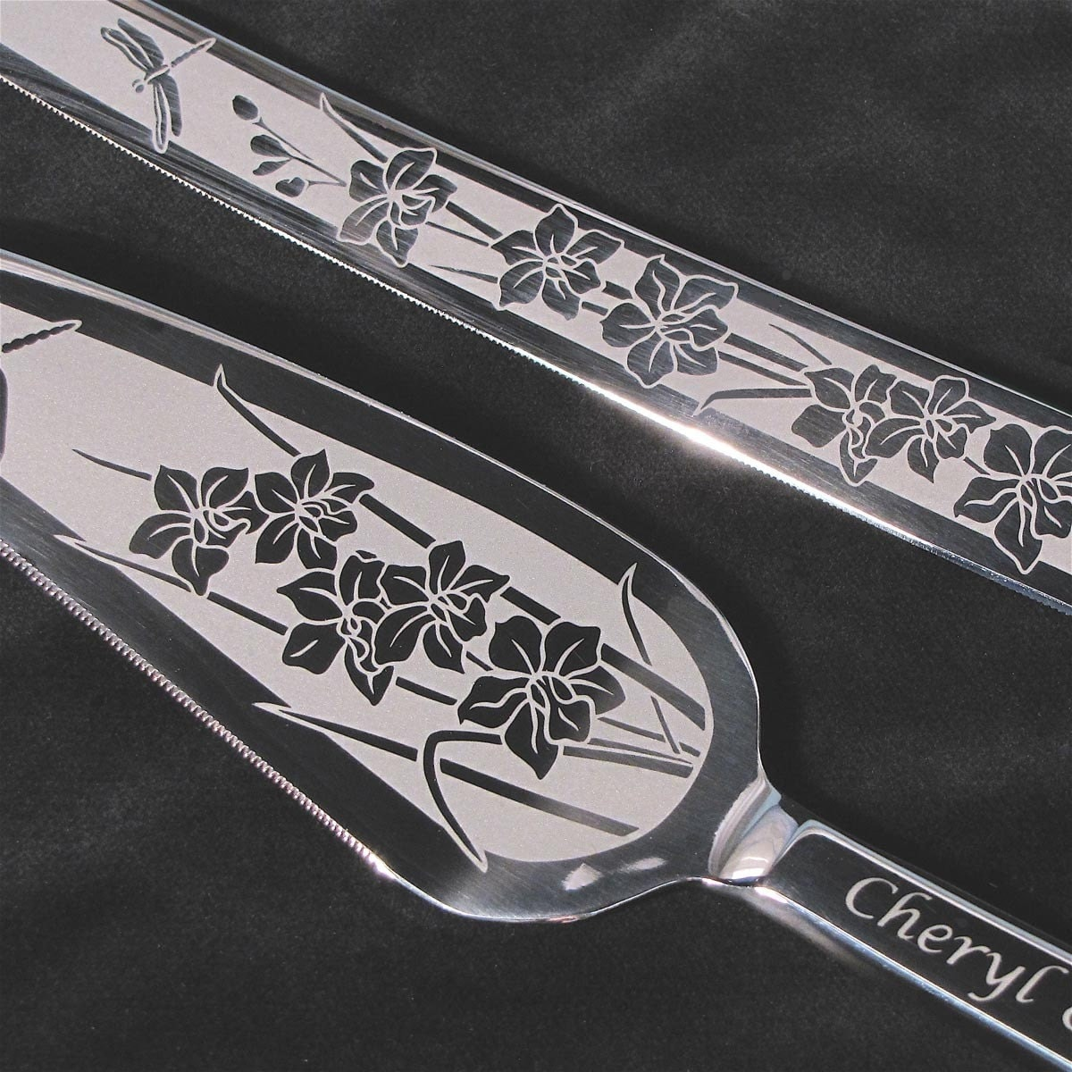 Orchid Dragonfly Wedding Cake Server And Knife Set Engraved