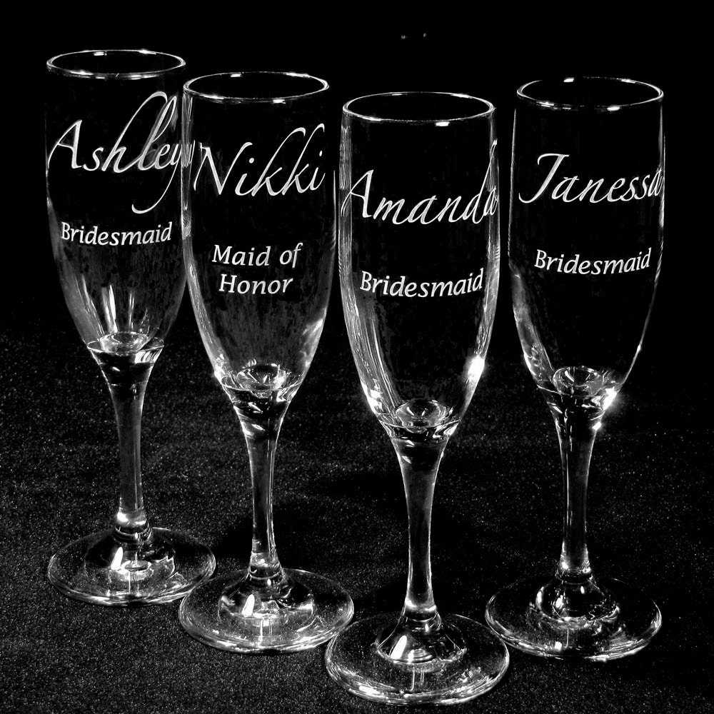 7 Champagne Flutes Personalized Bridal Party Gifts By