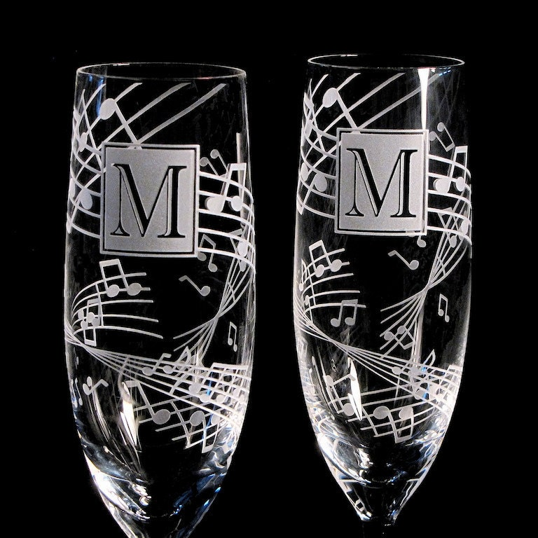 2 music wedding toasting flutes fine crystal by bradgoodell