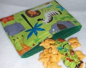 Earth Day SALE- 22% Off  Reusable, Eco-friendly Snack Bag (Safari Animals) - FREE SHIPPING on All Additional Items