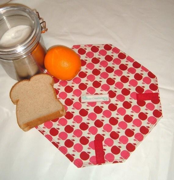 SALE 15 PERCENT OFF ALL SANDWICH WRAPS Wrap-A-Long (Farmer's Market Apples in Red)- Reusable, Eco-Friendly Sandwich Wrap