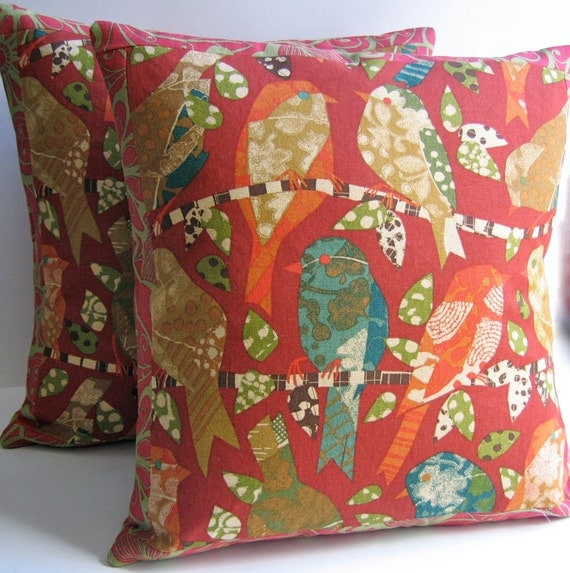 2 Throw Pillow Covers  Birds on Branches