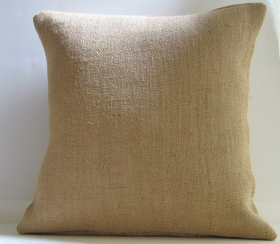 Decorative Burlap Pillow Covers : Decorative Pillow Cover Natural Burlap 16 x 16 by ItsSoVintage