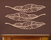 Large Leaves set of three vinyl Decals / feathers / palm leaves / tropical / nature / cabin
