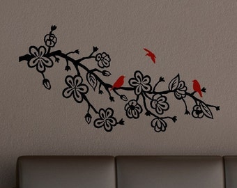 Cherry Blossom Branch Vinyl Wall Art Decal with birds - bedroom decor - nursery room decals