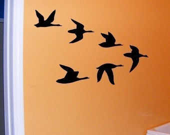 Duck Decal, Ducks in flight vinyl wall decal, cabin decor, hunting decal, boy's room decor, woodland lodge wall art