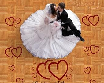 Wedding Dance Floor Decal Set, large personalized wedding reception decal, hearts monogram for wedding
