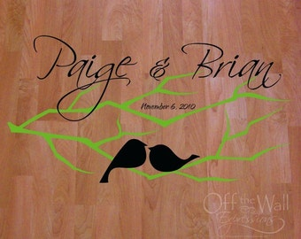 Love Birds on a Branch, Dance Floor Decal, wedding decal personalized dance decal