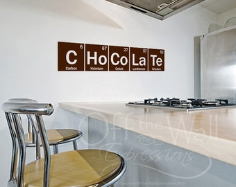 Periodic Table Chocolate Decal, from the Table of Elements, science sticker, science decor gifts