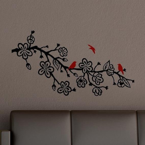 Cherry Blossom Branch Vinyl Wall Art Decal with birds - bedroom decor - nursery room decals