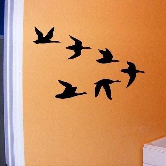 Duck Decal, Ducks in flight vinyl wall decal, cabin decor, hunting decal, boy's room decor, woodland lodge wall art
