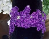 Purple Garter,Wedding Garter,Lace Garter,Rhinestone Garter,Purple Wedding,Lace Garter,Plus Size Garter,Purple Garter Set,Plus Size Bride