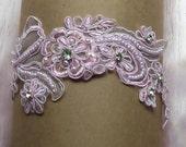 Pink Garter,Lace Garter,Pink Wedding,Bridal Garter,Garter Set, FREE Toss Garter,Sexy Garter,Plus Size Garter,Rhinestone Garter,Lace Bridal