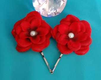 Rose Bobby Pin Set,Wedding Hair Flower,Red Wedding